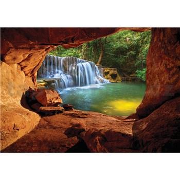 Vliesové fototapety pohľad na vodopád z jaskyne rozmer 368 cm x 254 cm