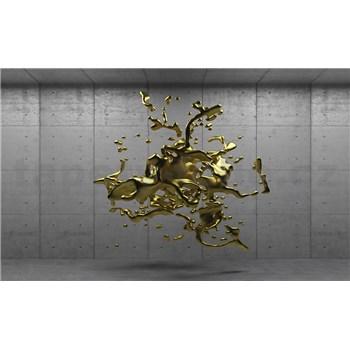 Vliesové fototapety 3D zlatý abstrakt na betónovom podklade, rozmer 104 cm x 70,5 cm