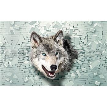 Vliesové fototapety 3D vlk rozmer 104 cm x 70,5 cm