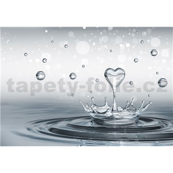 Fototapety srdce a kvapkami vody, rozmer 368 cm x 254 cm