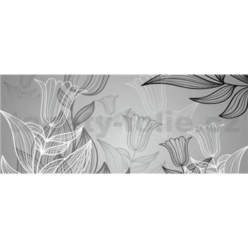 Vliesové fototapety listy s tulipánmi, rozmer 250 x 104 cm