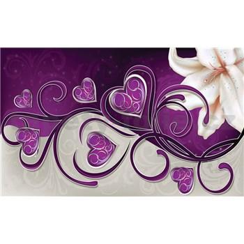 Fototapety srdce fialové s ľaliou, rozmer 368 cm x 254 cm