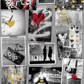 Papierové tapety na stenu Freestyle Love srdiečka zlaté a červené