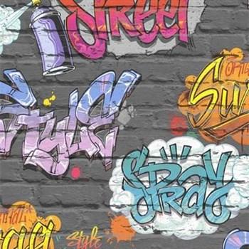 Papierové tapety na stenu Freestyle grafitti na sivej tehlovej stene