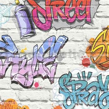 Papierové tapety na stenu Freestyle grafitti na bielej tehlovej stene