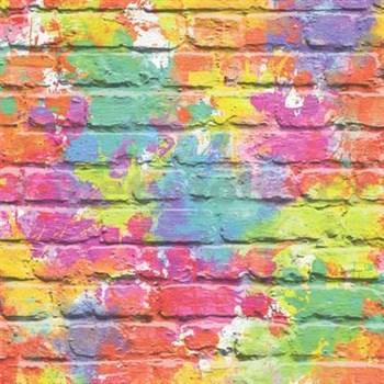 Papierové tapety na stenu Freestyle tehlová stena ružovo-žltá