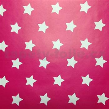Samolepiace tapety hviezdičky ružový podklad 45 cm x 15 m - 3,5 cm veľkosť hviezdičky