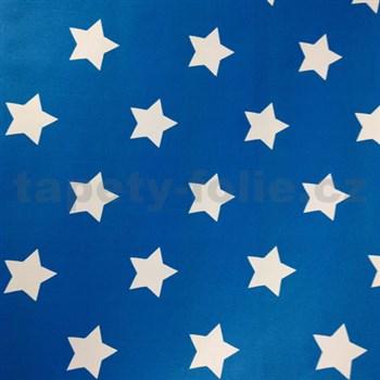Samolepiace tapety hviezdičky modrý podklad 45 cm x 15 m