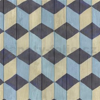 Samolepiace tapety drevené dosky modro-hnedé 45 cm x 15 m