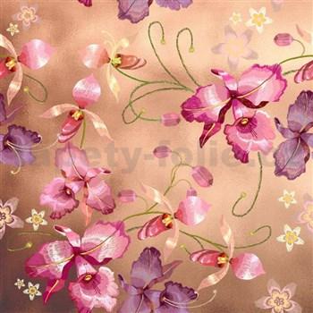 Samolepiace fólie ružová orchidea niklová - 45 cm x 5 m