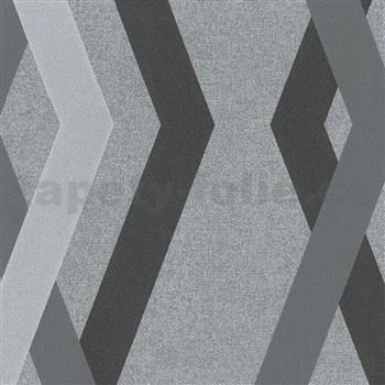 Vliesové tapety na stenu IMPOL Giulia 3D hrany čierno-sivé