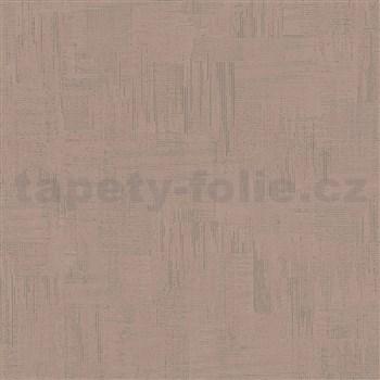 Vliesové tapety na stenu IMPOL Giulia pravidelná stierka s metalickými odleskami hnedá
