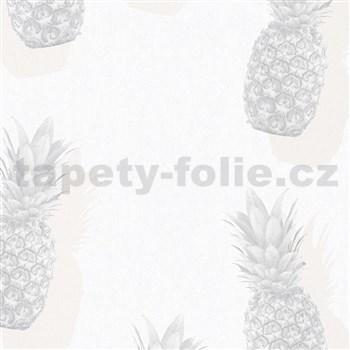 Vliesové tapety na stenu IMPOL Giulia ananásy sivo-béžové