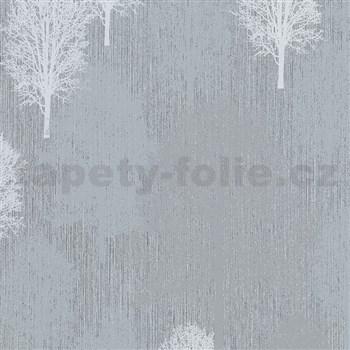 Vliesové tapety na stenu IMPOL Giulia stromy bielo-sivé na svetlo sivom podklade