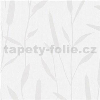 Vliesové tapety na stenu IMPOL Giulia trstina strieborná na bielom podklade