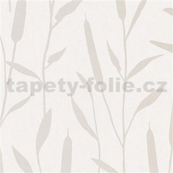Vliesové tapety na stenu IMPOL Giulia trstina strieborná na krémovom podklade