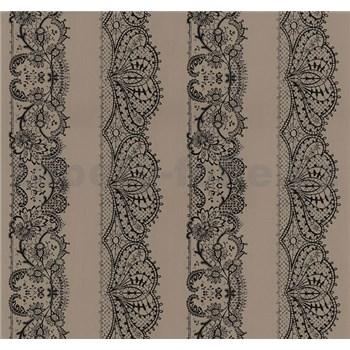 Vliesové tapety na stenu Glamour čipka čierna na hnedom podklade
