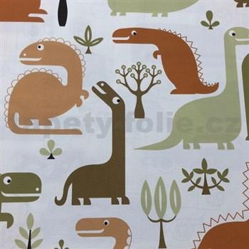 Vliesové tapety na stenu dinosaurus zeleno-oranžovo-hnedý