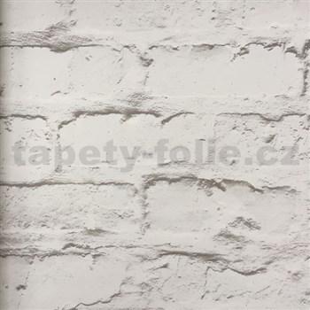 Vliesové tapety na stenu Wood´n Stone tehlová stena bielo-hnedá