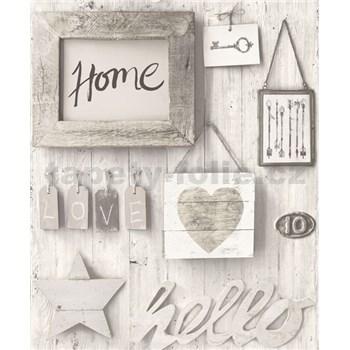 Vliesové tapety na stenu Facade Hello Home svetlo sivé