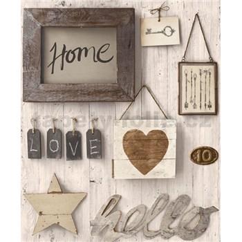 Vliesové tapety na stenu Facade Hello Home hnedé