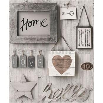 Vliesové tapety na stenu Facade Hello Home sivé