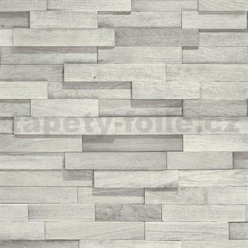 Vliesové tapety na stenu Facade drevený obklad svetlo sivý