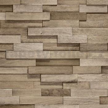 Vliesové tapety na stenu Facade drevený obklad stredne hnedý