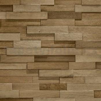 Vliesové tapety na stenu Facade drevený obklad hnedý
