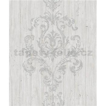 Vliesové tapety na stenu Facade drevený obklad bielo-sivý s sivým ornamentom