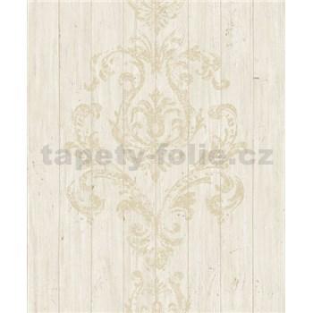 Vliesové tapety na stenu Facade drevený obklad hnedý s ornamentom