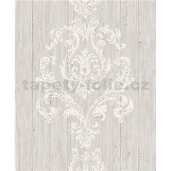 Vliesové tapety na stenu Facade drevený obklad s bielym ornamentom
