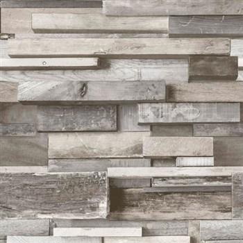 Vliesové tapety na stenu Facade drevený múr hnedo-sivý