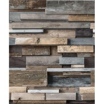 Vliesové tapety na stenu Facade drevený múr hnedo-modrý