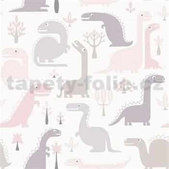 Vliesové tapety na stenu dinosaurus ružový, hnedý, fialový