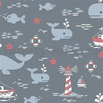 Vliesové tapety na stenu veľryby modré