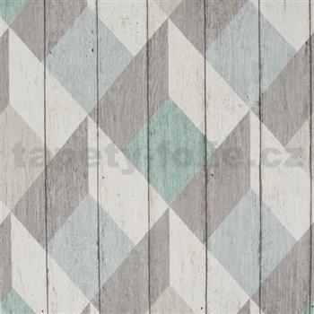 Vliesové tapety na stenu Unplagged 3D drevené dosky biela, sivá, tyrkysová