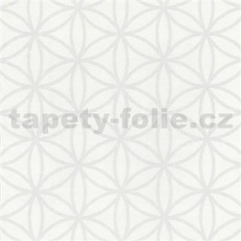 Vliesové tapety na stenu Graphics Alive - geometrické kvety biele