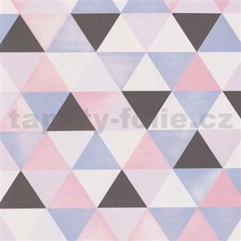 Vliesové tapety na stenu Graphics Alive geometrický vzor sivý, ružový, modrý