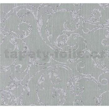 Tapety na stenu Graziosa ornament svetlo fialový na sivom podklade