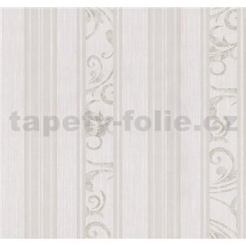 Tapety na stenu Graziosa pruhy s ornamentom hnedo-krémové