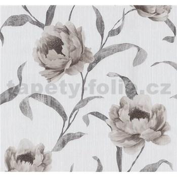 Tapety na stenu Graziosa kvety svetlo hnedé - POSLEDNÉ KUSY