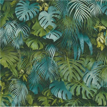 Vliesové tapety na stenu Greenery palmové listy a listy Monstera modro-zelené