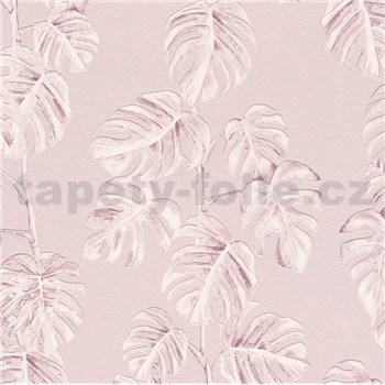 Vliesové tapety na stenu Greenery listy Monstery ružové na ružovom podklade