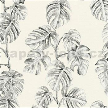 Vliesové tapety na stenu Greenery listy Monstery čierne na bielom podklade