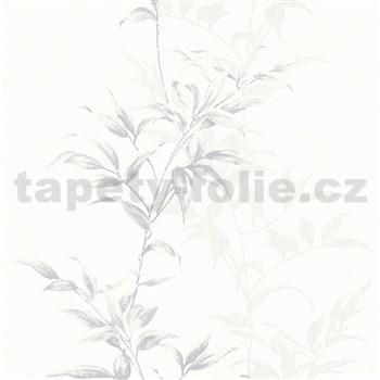 Vliesové tapety na stenu IMPOL Hailey popínavé listy sivé na bielom podklade