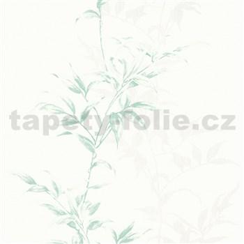 Vliesové tapety na stenu IMPOL Hailey popínavé listy zelené na bielom podklade