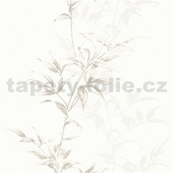 Vliesové tapety na stenu IMPOL Hailey popínavé listy hnedé na bielom podklade