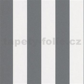 Vliesové tapety na stenu IMPOL Hailey pruhy tmavo sivo-biele