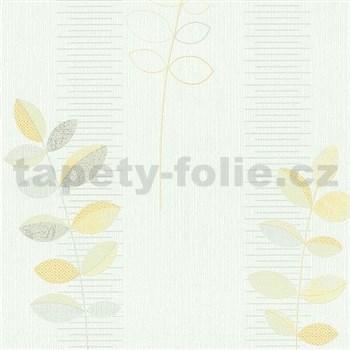 Vliesové tapety na stenu Happiness listy žlté na bielom podklade